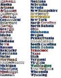 De V.S. verklaren namen in kleuren van zijn vlag - volledige uitrusting Stock Fotografie