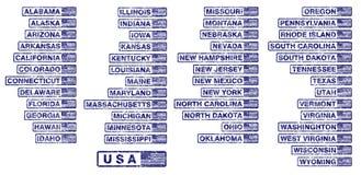 De V.S. verklaren rubberzegels vector illustratie