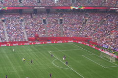 De V.S. versus Def. van Japan bij de Wereldbeker 2015 van FIFA Women's Stock Foto