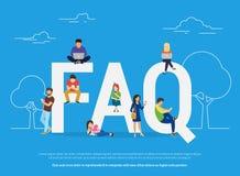 De vaak gevraagde illustratie van het vragenconcept van jongeren die zich dichtbij brieven bevinden vector illustratie