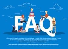 De vaak gevraagde illustratie van het vragenconcept van jongeren die zich dichtbij brieven bevinden Vlakke vector vector illustratie