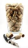 De vaas van de kurketrekker en van het glas met kurkt Stock Foto's