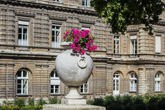 De vaas van de steenbloem buiten de Franse Senaatsbouw in Jardin du Luxemburg Stock Foto's