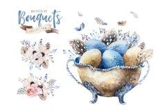 De vaasillustratie van waterverf gelukkige Pasen met bloemen, veren en eieren De decoratie van de de lentevakantie April-bohoontw Stock Foto