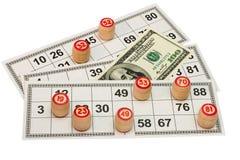 De vaatjes van het lotto op kaart op een witte achtergrond wordt ge?soleerdb die Stock Fotografie