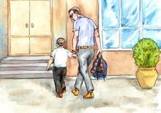 De vader brengt zoon aan school Stock Afbeelding