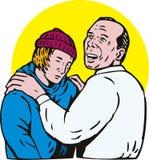 De vader en de zoon omhelzen Royalty-vrije Stock Afbeelding