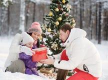De vader geeft zijn dochter een gift voor Kerstmis in de winterbos royalty-vrije stock foto