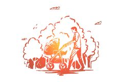 De vader met kinderwagen op wandeling in park, de papa en het kind lopen dagelijks in openlucht, de kinderwagen van de jonge mens vector illustratie