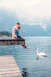 De vader met zoon zit op de houten pijler en kijkt op witte zwaan sw stock fotografie