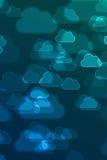 De vage blauwe wolkentekens defocused achtergrond Stock Afbeelding
