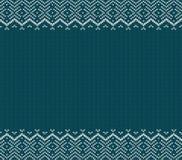 De vakantie breide blauw ornamentontwerp met lege ruimte voor tekst Het naadloze patroon van Kerstmis vector illustratie