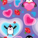 De vakantie is de Dag van Valentine ` s Harten en pinguïnen met anjers Op een lilac achtergrond Royalty-vrije Stock Afbeeldingen