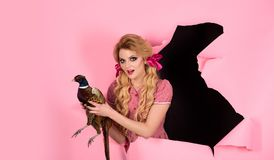 De vakantie en de poppen van Halloween Gek meisje op roze Halloween Creatief idee Vogelgriep Grappige reclame Uitstekende Vrouw royalty-vrije stock afbeeldingen