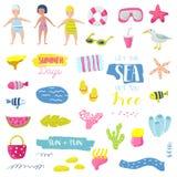 De Vakantie Kinderachtige die Elementen van het de zomerstrand met Jonge geitjes, Vissen en Vogel worden geplaatst Leuke Decorati royalty-vrije illustratie