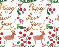 De vakantie naadloos patroon van waterverfkerstmis met bessen, herten en gelukkig nieuw jaarexemplaar Thema van het de winter het stock illustratie