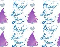 De vakantie naadloos patroon van waterverfkerstmis met bomen, vogels en gelukkig nieuw jaarexemplaar Thema van het de winter het  royalty-vrije illustratie