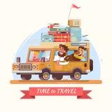 De vakantie Oranje auto van de familiezomer met koffers Vectorillustra Stock Afbeelding