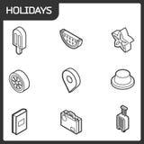 De vakantie schetst isometrische pictogrammen Royalty-vrije Stock Fotografie