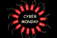 De Vakantie van de Cybermaandag De rode het winkelen etiketten van de verkoopkorting stock fotografie