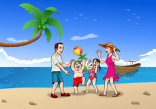 De vakantie van de familiezomer op het strand Stock Foto's