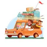 De vakantie van de familiezomer Oranje auto met koffers Vector illustratie Stock Afbeelding