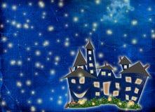De vakantie van de prentbriefkaar met kasteel en pompoen stock afbeelding