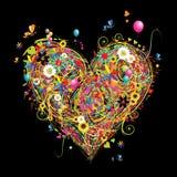 De vakantie van de zomer, hartvorm met ontwerpelementen Royalty-vrije Stock Afbeelding