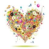 De vakantie van de zomer, hartvorm met ontwerpelementen Royalty-vrije Stock Afbeeldingen