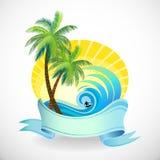 De Vakantie van de zon, van het Zand en het Surfen op een Tropische Islan vector illustratie