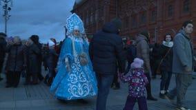 De vakantie van het nieuwjaar Moskou, Rusland Januari 2015: stock videobeelden