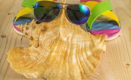 De vakantie van het strand Zonnebril, wipschakelaars, overzeese shell op houten achtergrond Royalty-vrije Stock Afbeelding