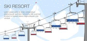 De vakantie van de skitoevlucht, skilift De activiteitensport van de de winter openluchtvakantie in alpen, landschap met de menin stock illustratie