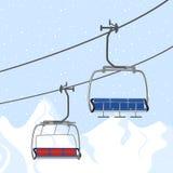 De vakantie van de skitoevlucht, skilift De activiteitensport van de de winter openluchtvakantie in alpen, landschap met de menin royalty-vrije illustratie