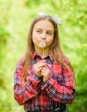 De vakantie van de zomer Rancho en land Natuurlijke Schoonheid Kinderjarengeluk gelukkige kindgreep blowball meisje en royalty-vrije stock foto's