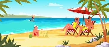 De vakantie vlakke vectorillustratie van de familiezomer royalty-vrije illustratie