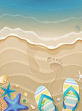 De vakantieachtergrond van de zomer met voetafdrukken Royalty-vrije Stock Fotografie