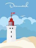 De Vakantieaffiche van Denemarken met vuurtoren Royalty-vrije Stock Afbeeldingen