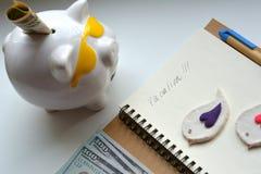 De vakantieconcept van het spaarvarken en van het geld Stock Afbeelding