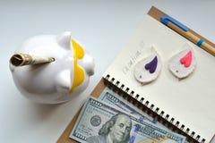 De vakantieconcept van het spaarvarken en van het geld Royalty-vrije Stock Foto