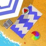 De vakantieillustratie van het de zomerstrand Stock Afbeelding