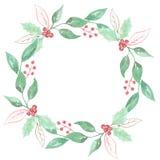 De Vakantiekroon Holly Berry Red Green Garland van de waterverf Feestelijke Winter Royalty-vrije Stock Foto's