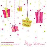 De Vakjes van de gift, Kerstkaart Royalty-vrije Stock Afbeelding