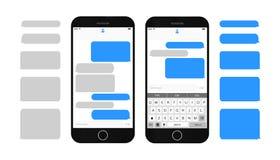 De vakjes van het tekstbericht op het smartphonescherm Stock Fotografie