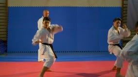 De vaklieden die van tienersvechtsporten kata uitvoeren bij dojo met hun leraar van de senseikarate stock videobeelden