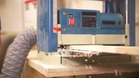 De vakman gaat een houten straal door de industriële timmerwerk houten maalmachine over stock video