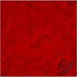 De valentijnskaart nam met de achtergrond van grungeharten toe Royalty-vrije Stock Foto's