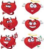 De Valentijnskaart `s van het Hart van engelen en van duivels vector illustratie