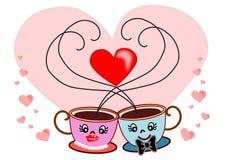 De valentijnskaart van de koffiekop Stock Foto's