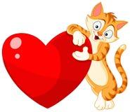 De valentijnskaart van het de holdingshart van de kat Royalty-vrije Stock Foto